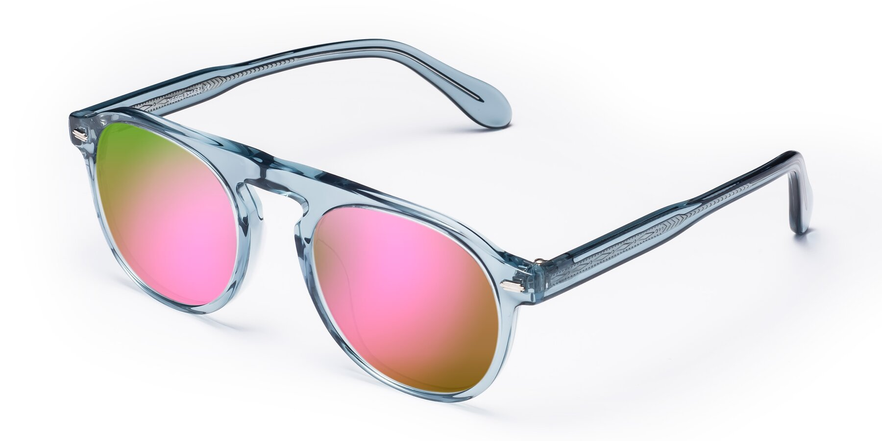 Angle of Mufasa in Light Blue with Pink Mirrored Lenses