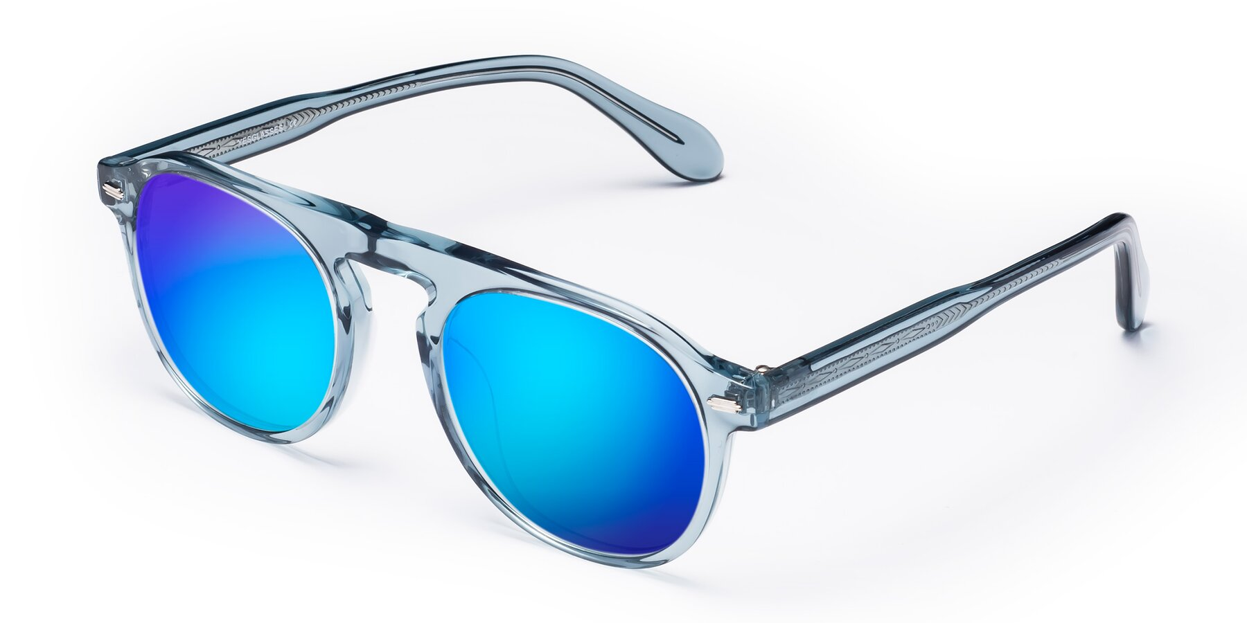 Angle of Mufasa in Light Blue with Blue Mirrored Lenses