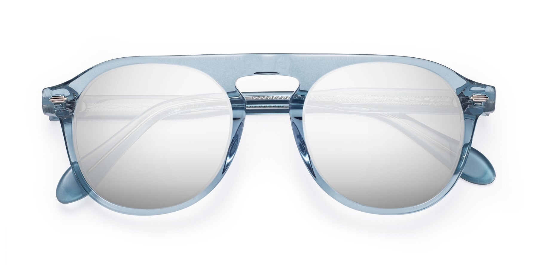 Folded Front of Mufasa in Light Blue with Silver Mirrored Lenses