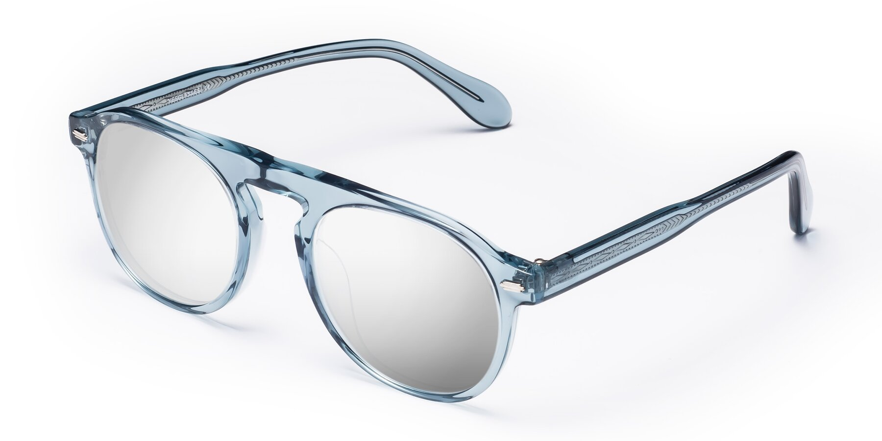 Angle of Mufasa in Light Blue with Silver Mirrored Lenses
