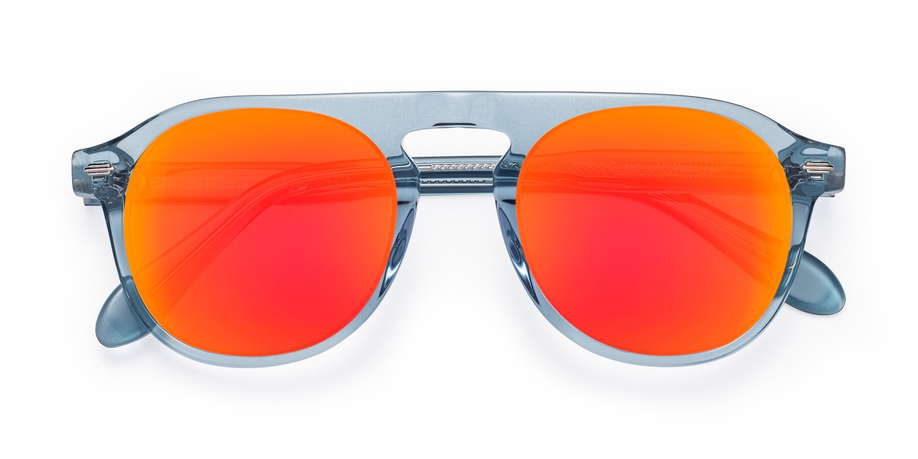 Folded Front of Mufasa in Light Blue with Red Gold Mirrored Lenses