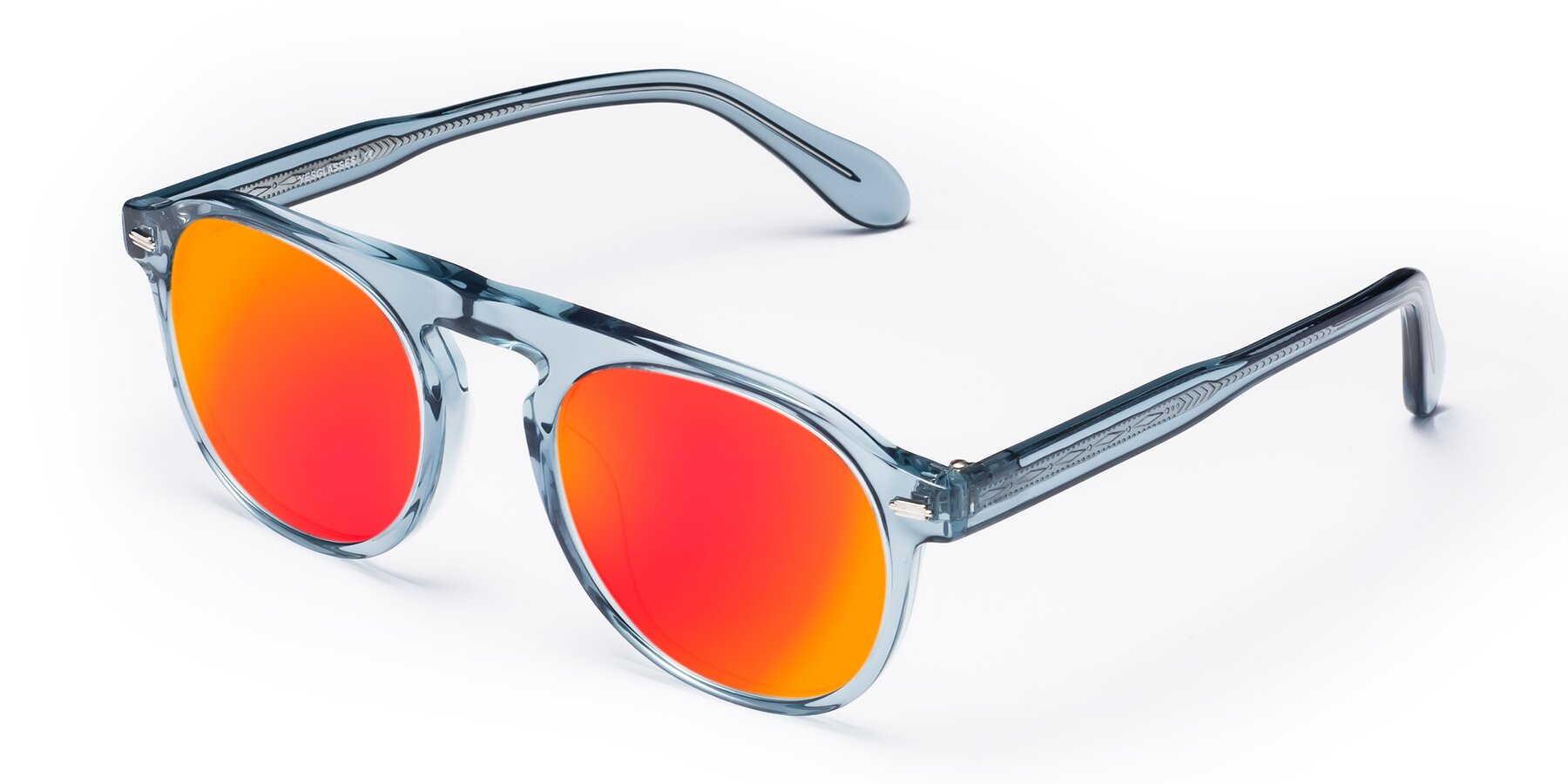 Angle of Mufasa in Light Blue with Red Gold Mirrored Lenses
