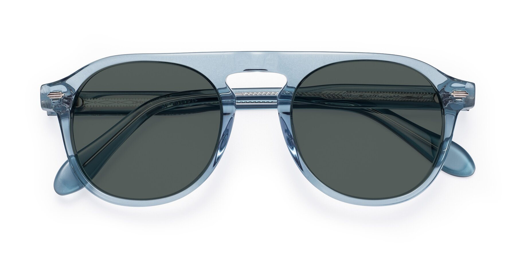 Folded Front of Mufasa in Light Blue with Gray Polarized Lenses