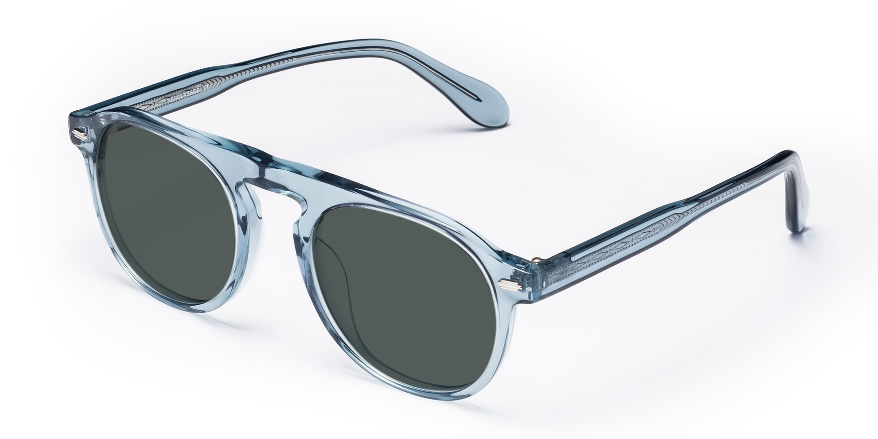 Angle of Mufasa in Light Blue with Gray Polarized Lenses