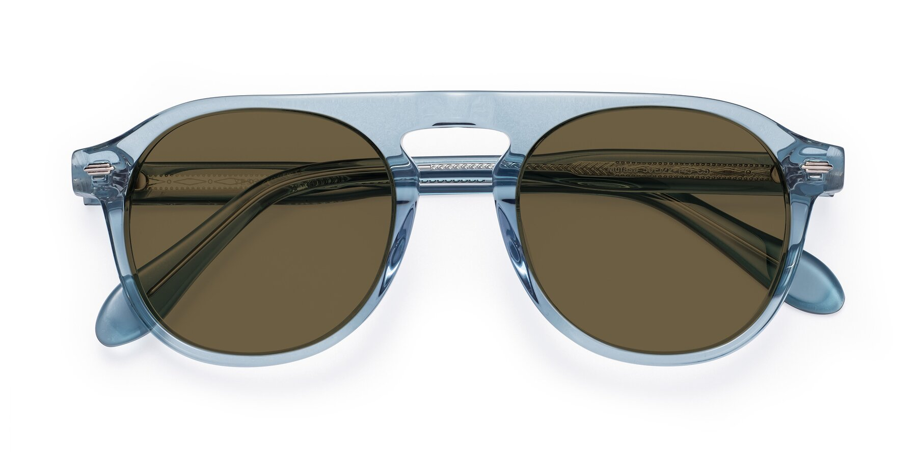 Folded Front of Mufasa in Light Blue with Brown Polarized Lenses