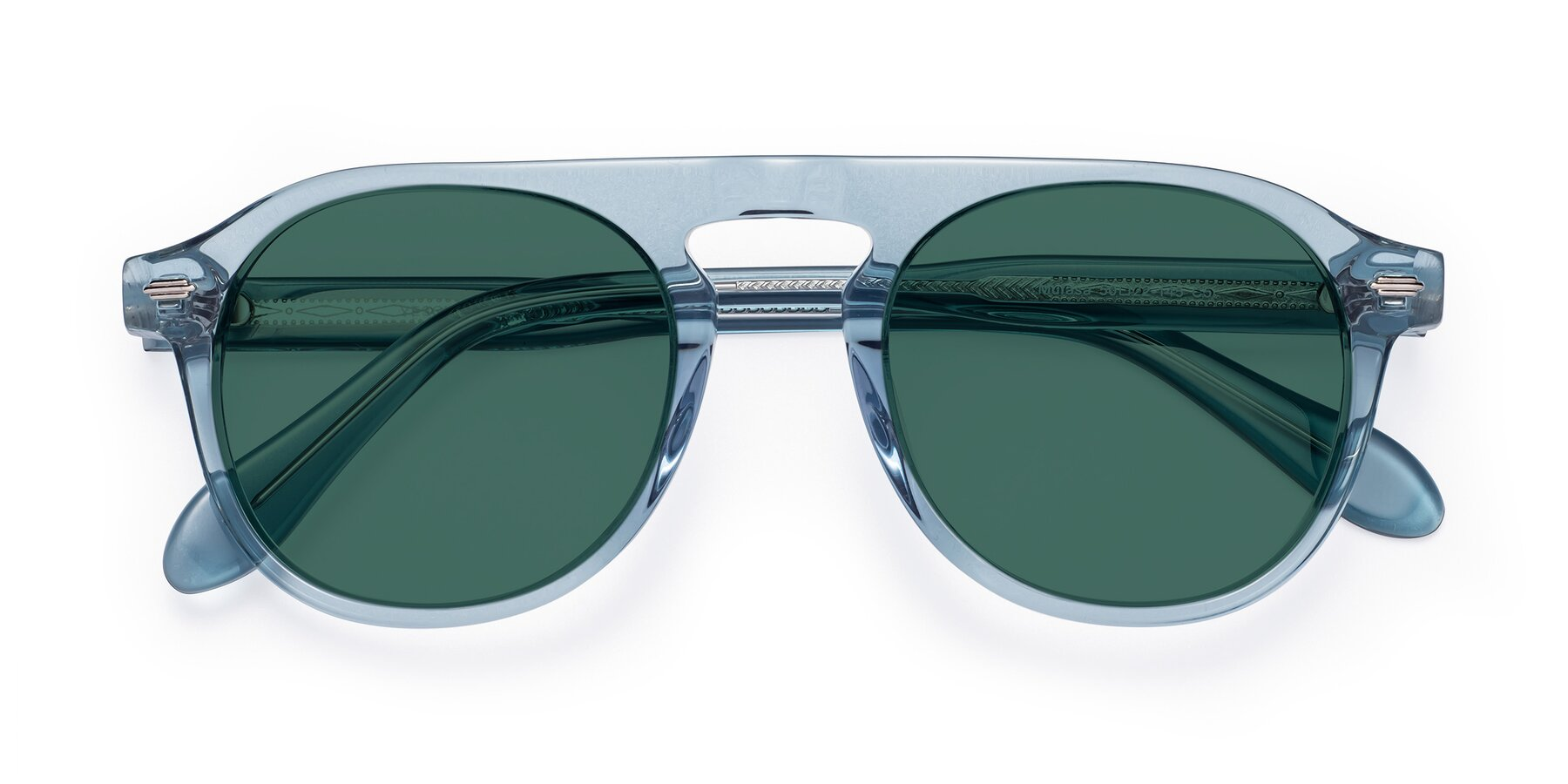 Folded Front of Mufasa in Light Blue with Green Polarized Lenses