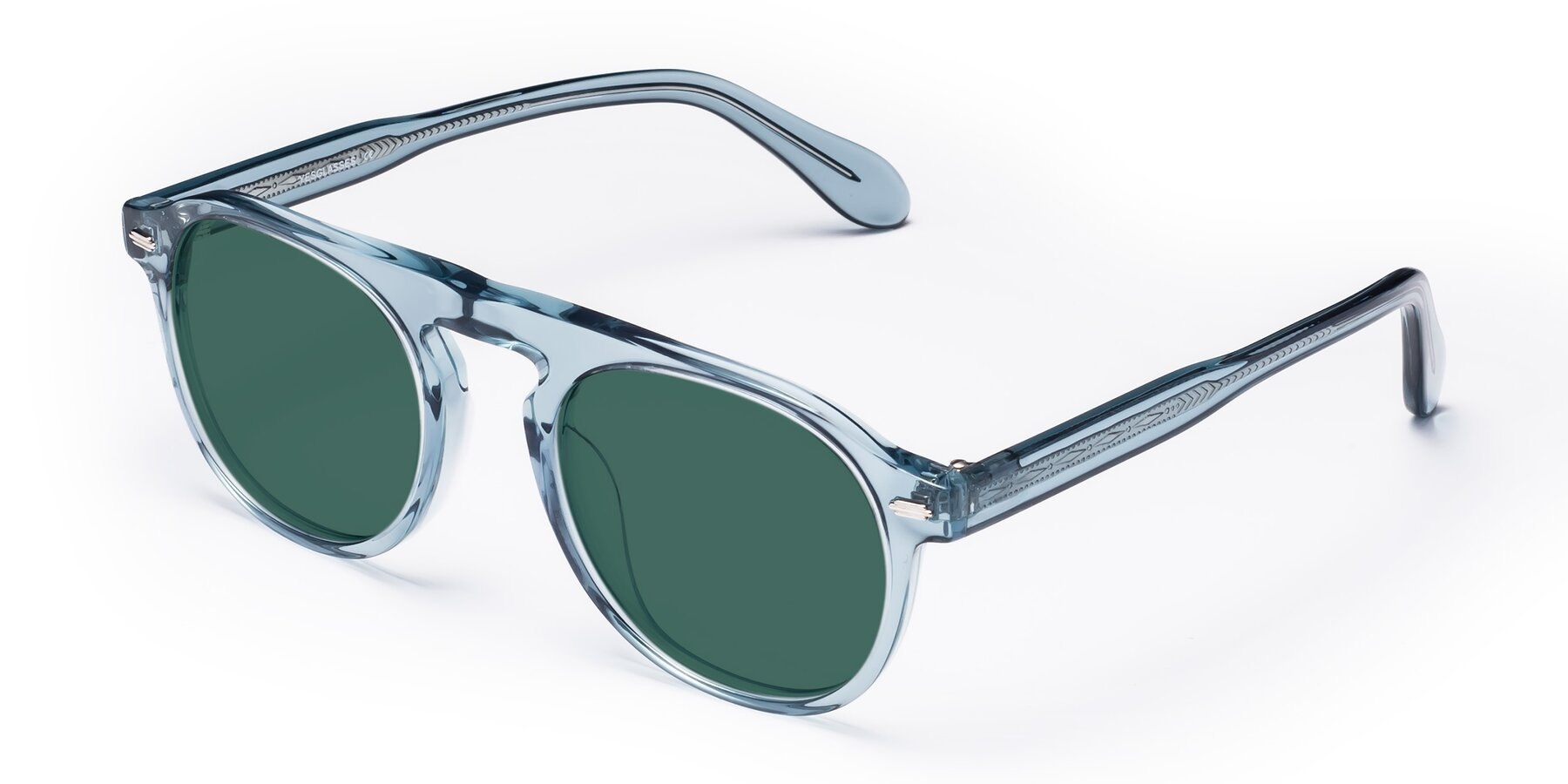 Angle of Mufasa in Light Blue with Green Polarized Lenses