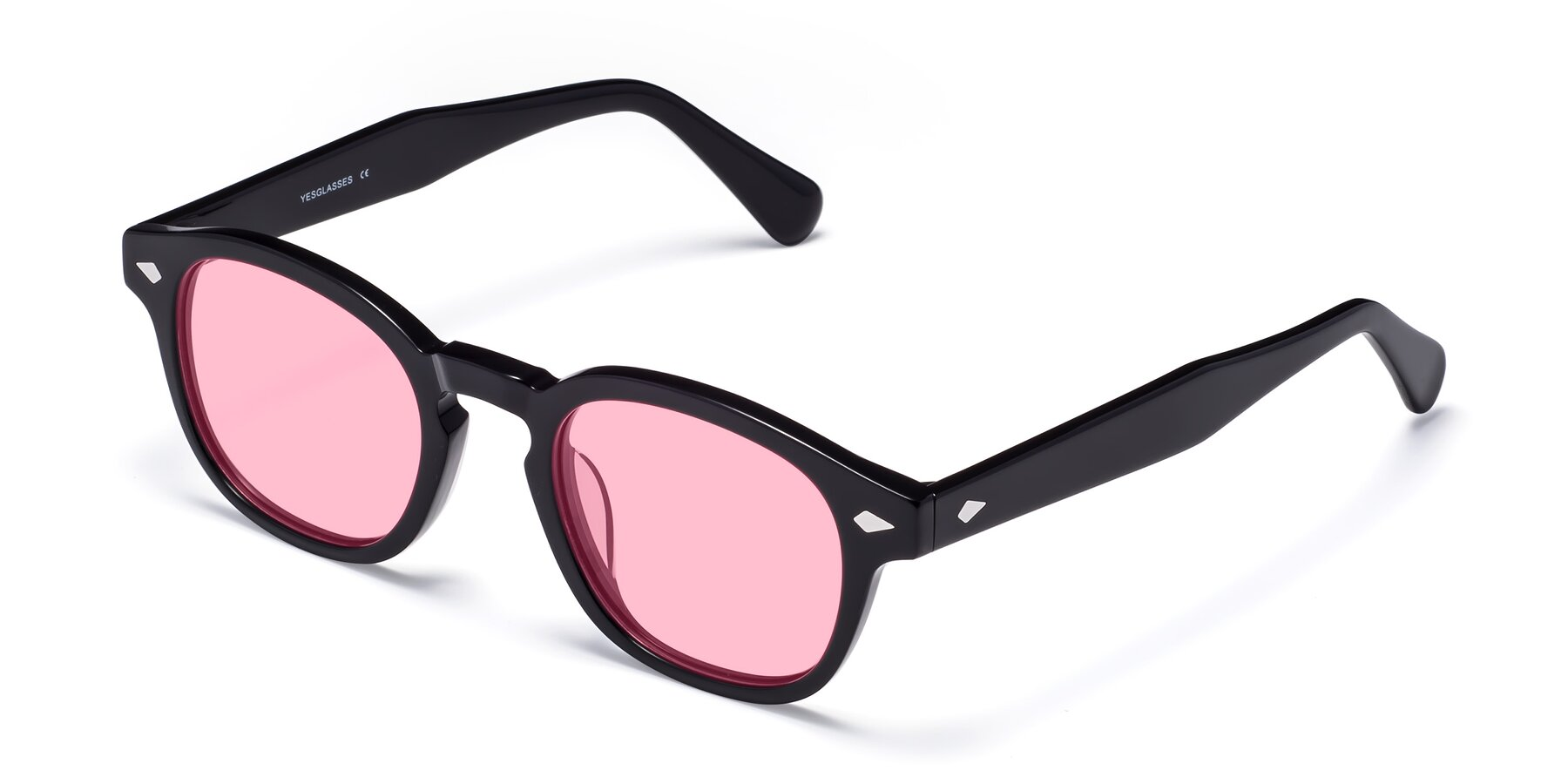 Angle of WALL-E in Black with Medium Pink Tinted Lenses