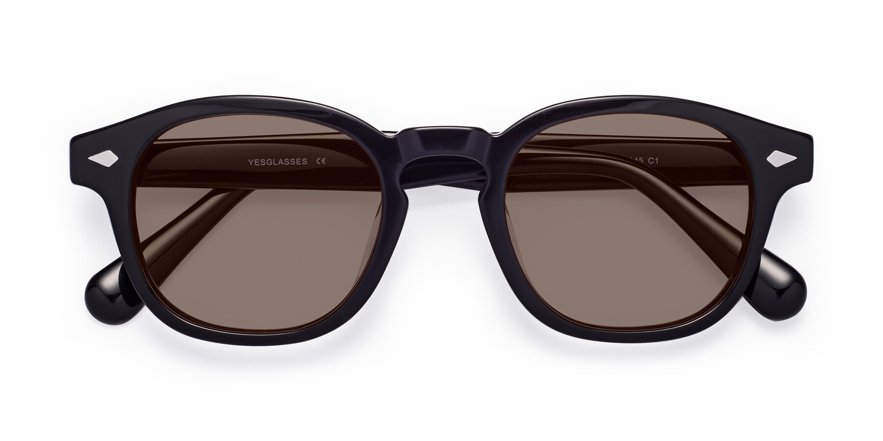 Folded Front of WALL-E in Black with Medium Brown Tinted Lenses