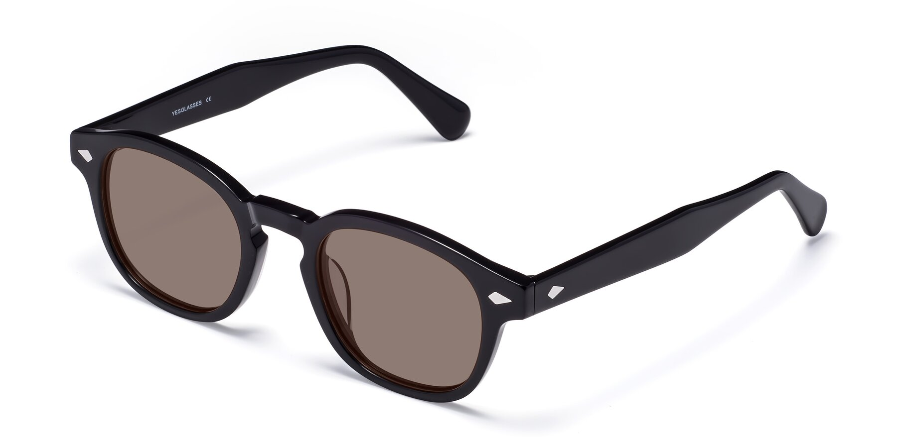 Angle of WALL-E in Black with Medium Brown Tinted Lenses