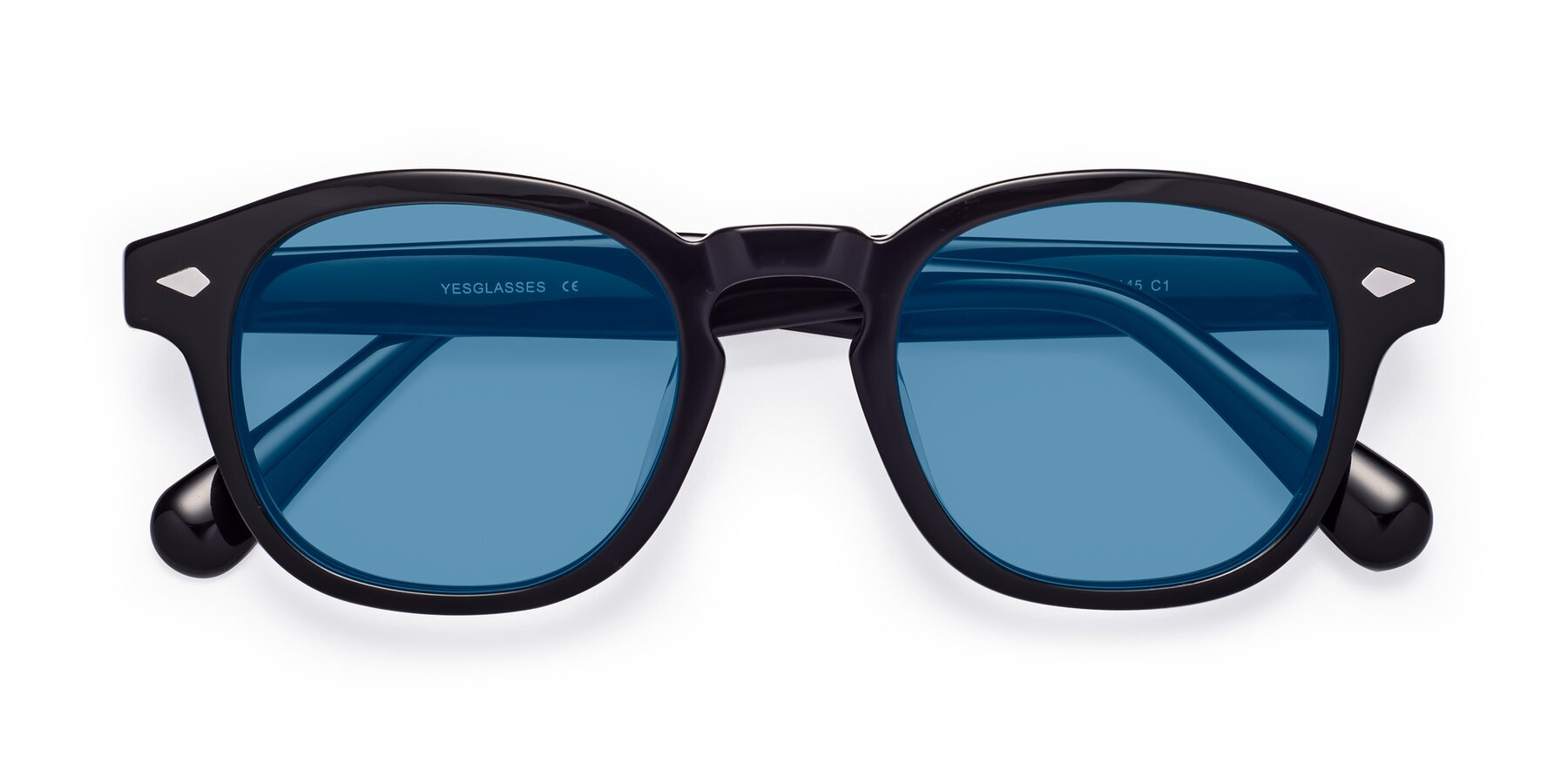 Folded Front of WALL-E in Black with Medium Blue Tinted Lenses