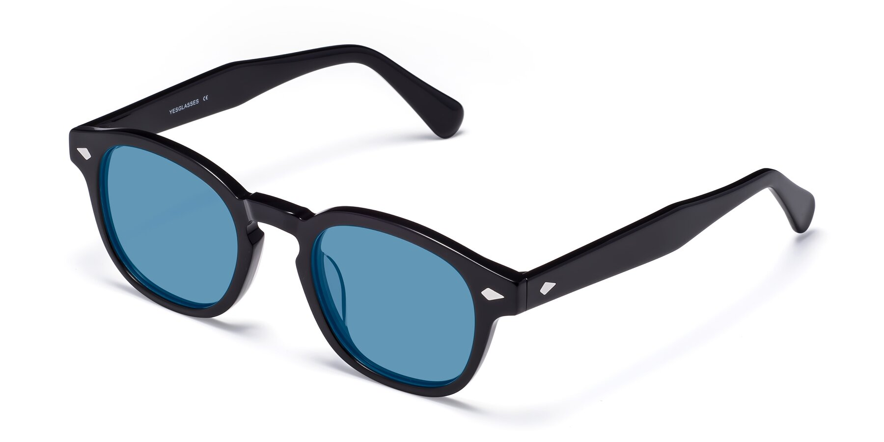 Angle of WALL-E in Black with Medium Blue Tinted Lenses