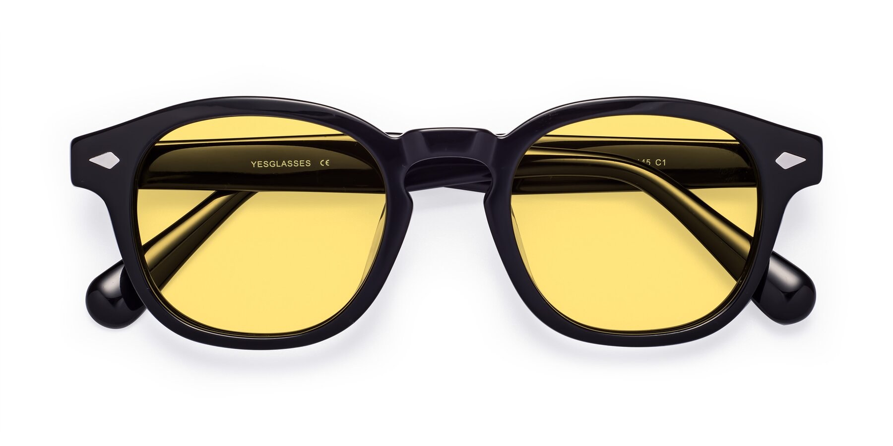 Folded Front of WALL-E in Black with Medium Yellow Tinted Lenses