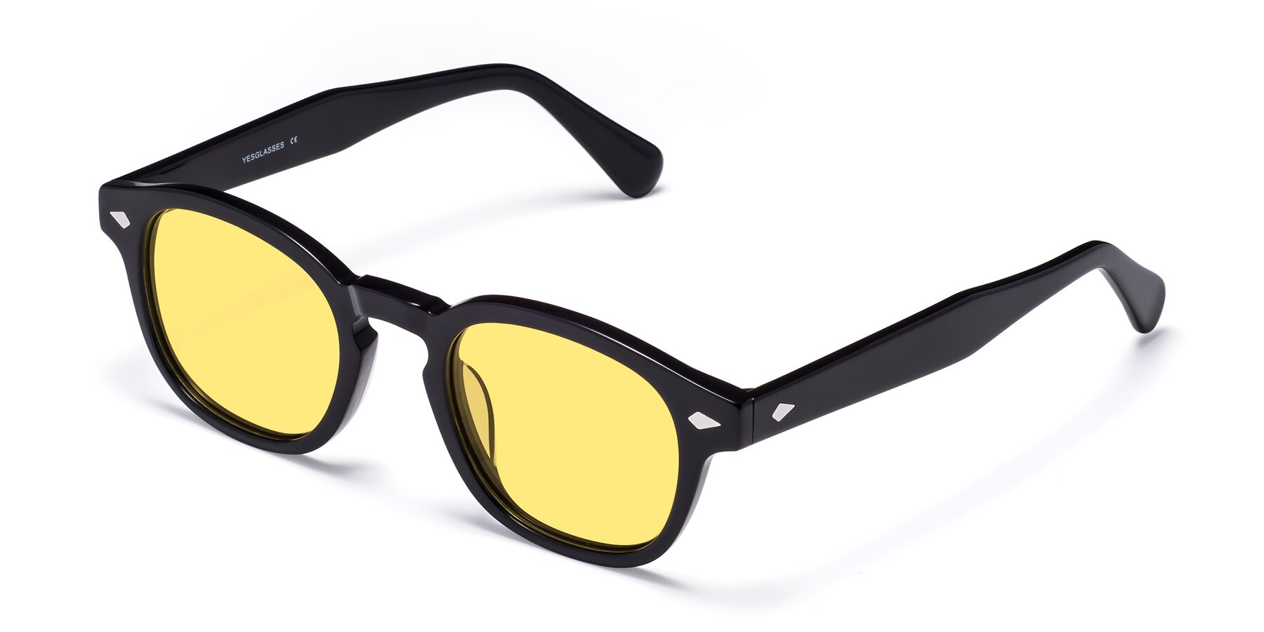 Angle of WALL-E in Black with Medium Yellow Tinted Lenses