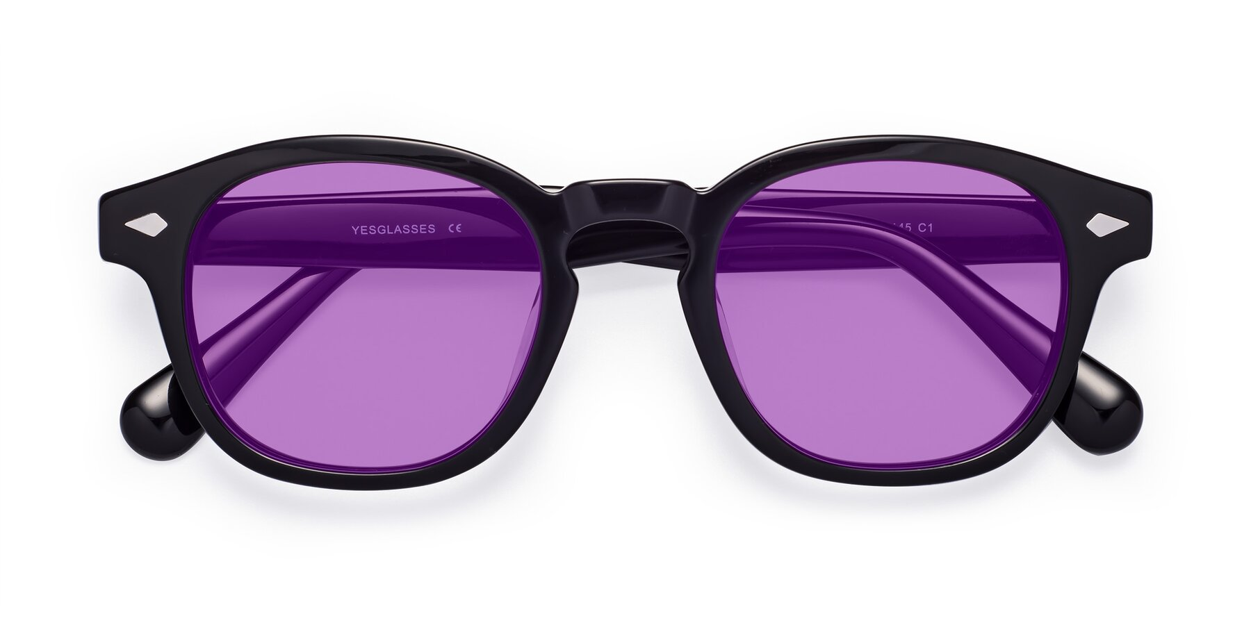 Folded Front of WALL-E in Black with Medium Purple Tinted Lenses