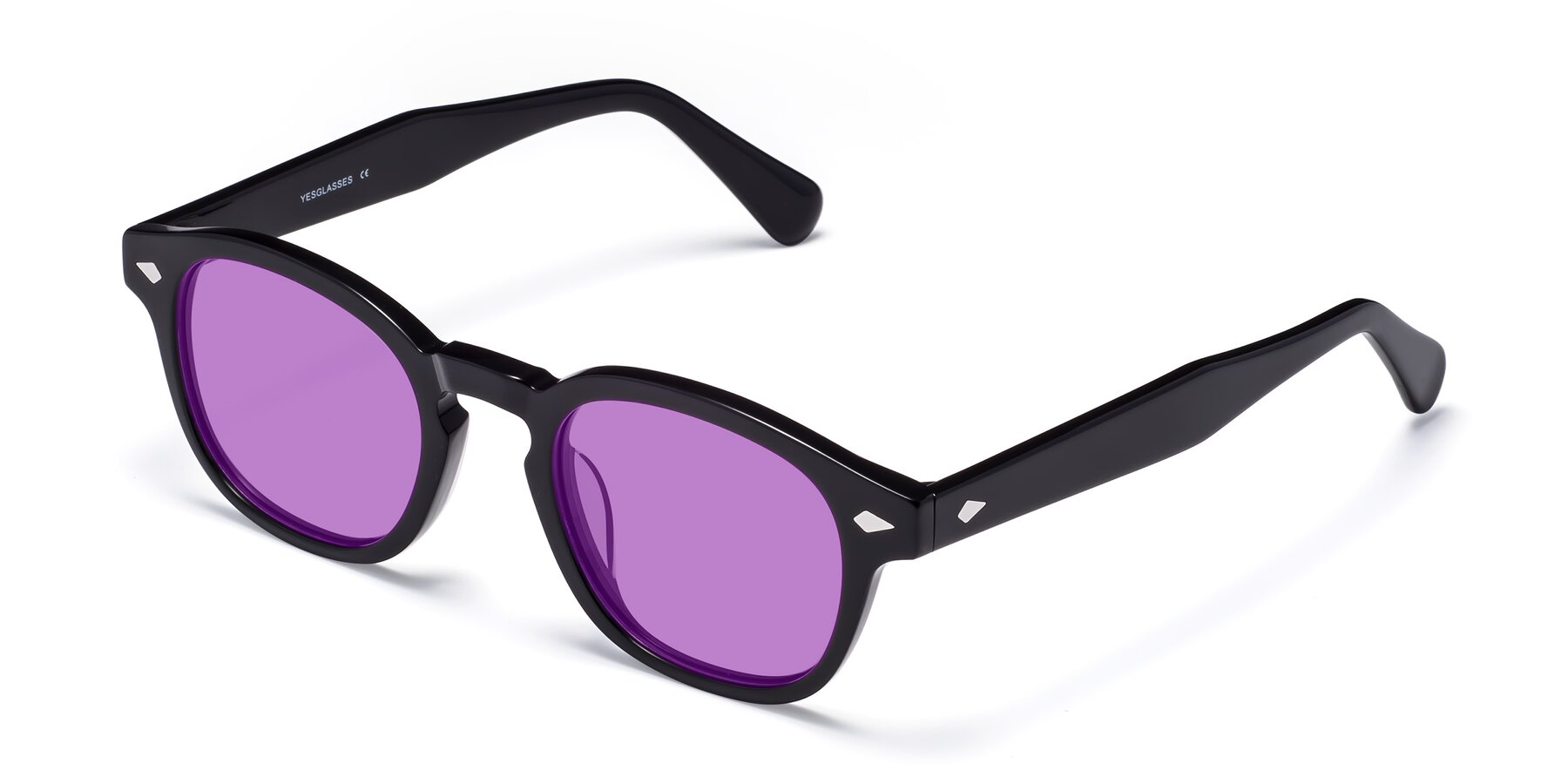 Angle of WALL-E in Black with Medium Purple Tinted Lenses