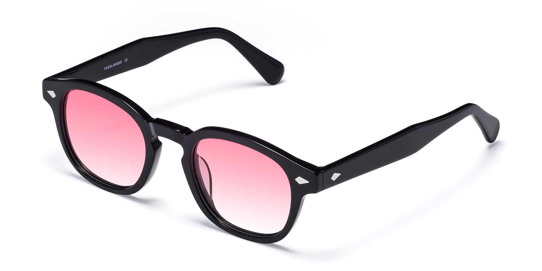 Angle of WALL-E in Black with Pink Gradient Lenses