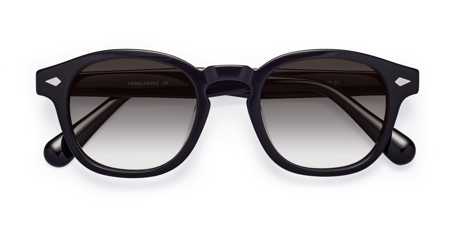 Folded Front of WALL-E in Black with Gray Gradient Lenses