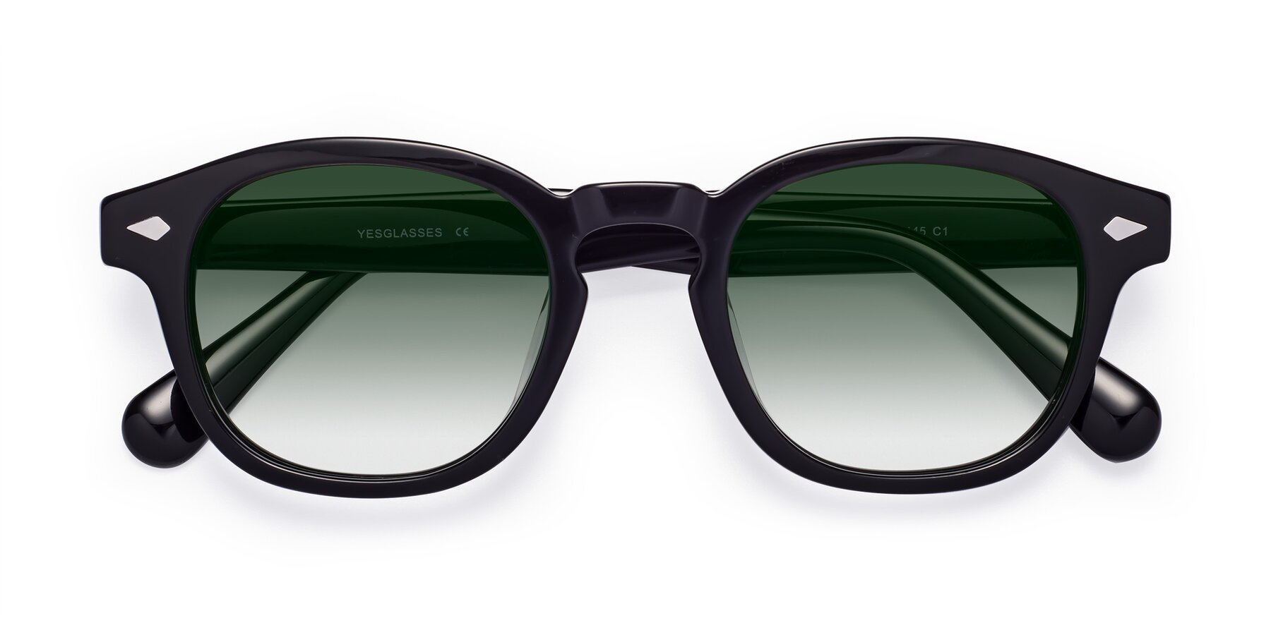 Folded Front of WALL-E in Black with Green Gradient Lenses