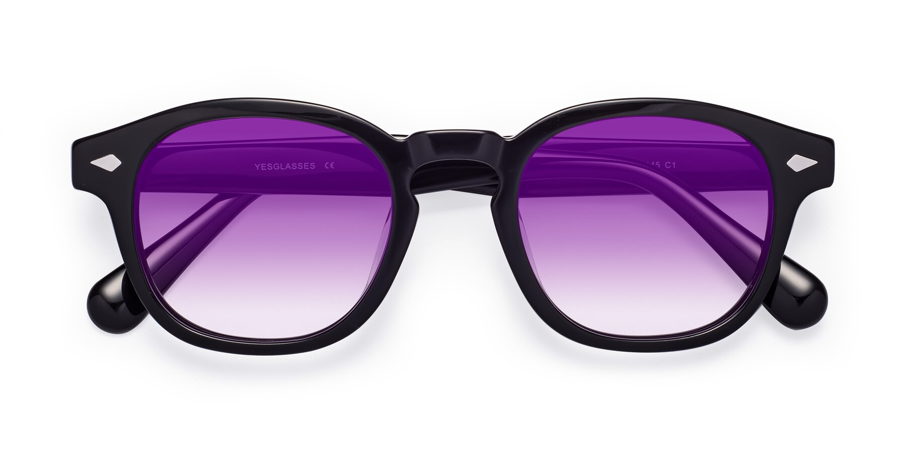 Folded Front of WALL-E in Black with Purple Gradient Lenses