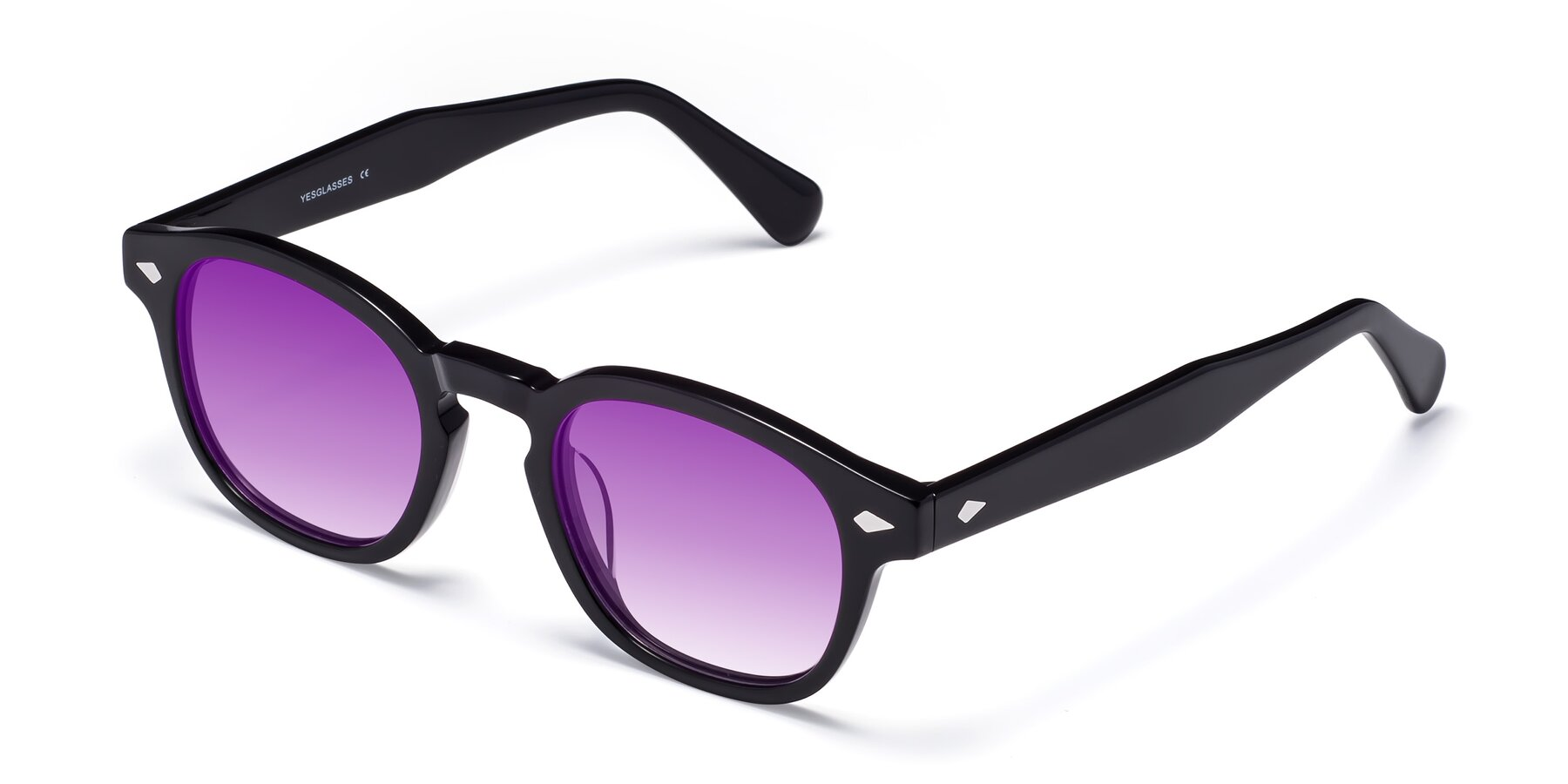 Angle of WALL-E in Black with Purple Gradient Lenses