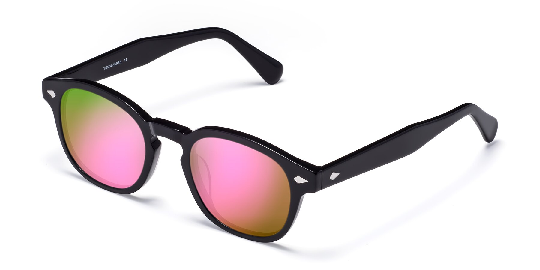 Angle of WALL-E in Black with Pink Mirrored Lenses
