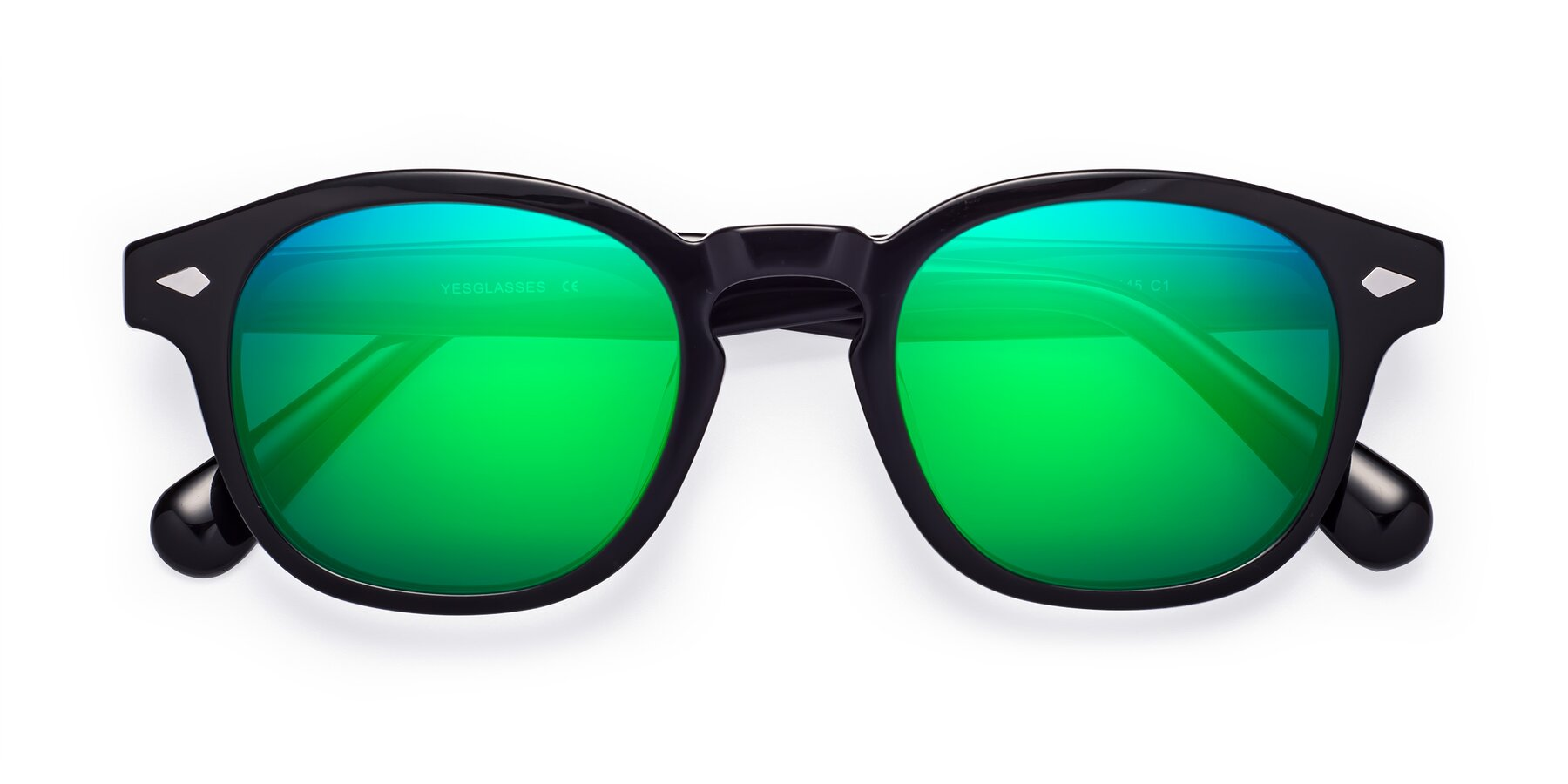 Folded Front of WALL-E in Black with Green Mirrored Lenses
