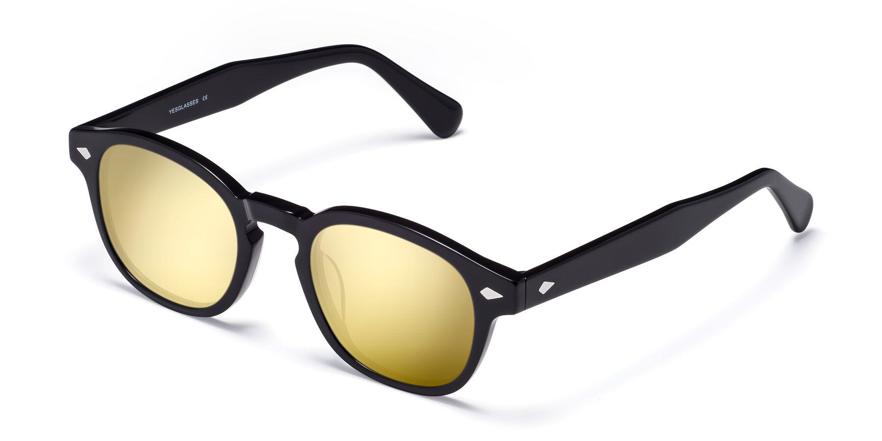 Angle of WALL-E in Black with Gold Mirrored Lenses