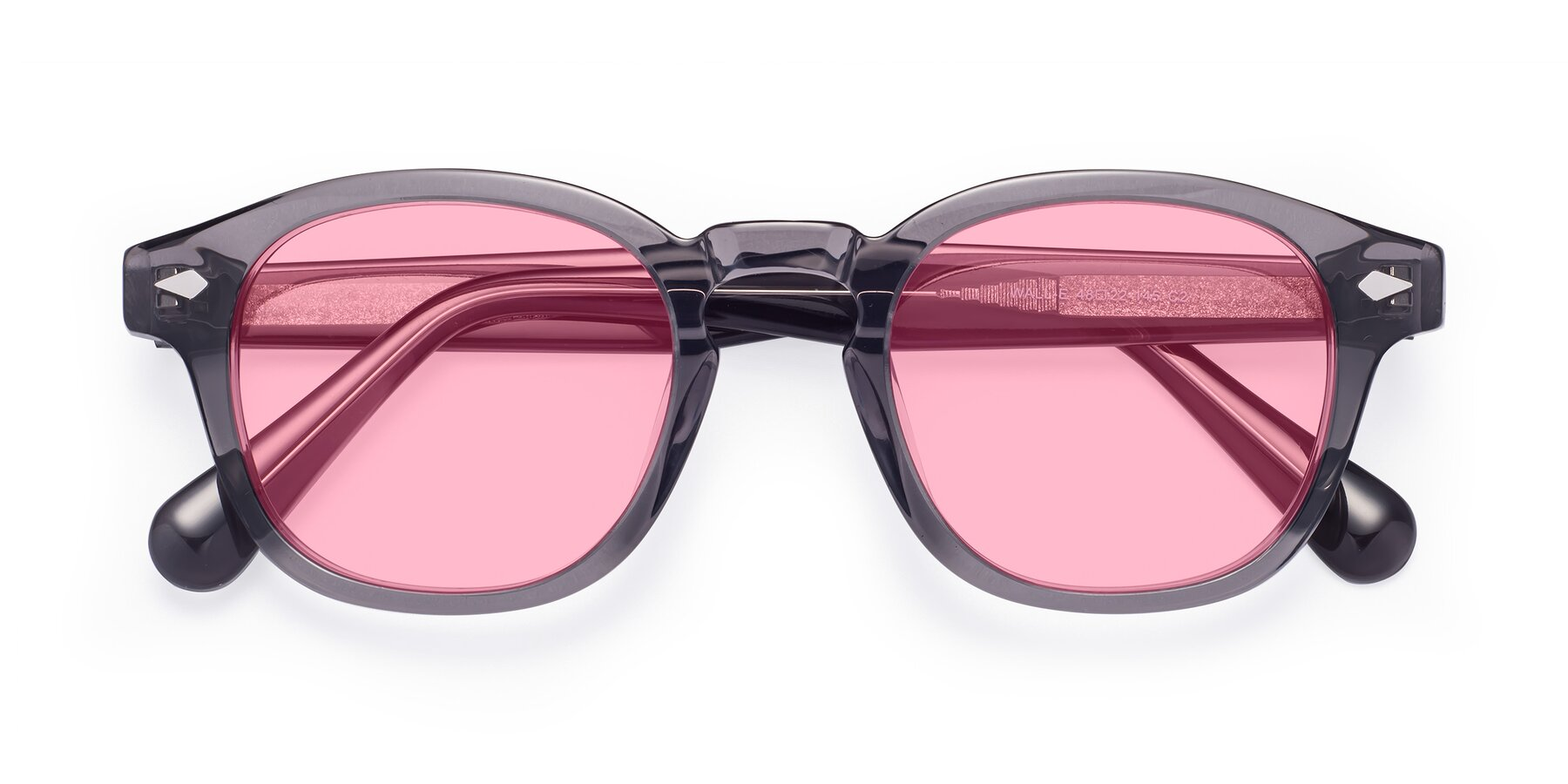 Folded Front of WALL-E in Translucent Gray with Medium Pink Tinted Lenses