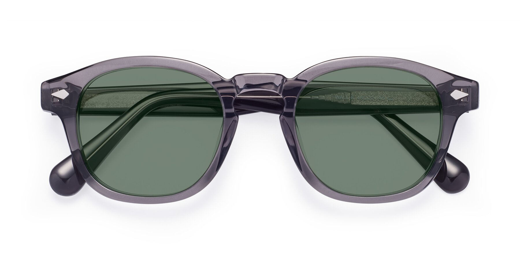 Folded Front of WALL-E in Translucent Gray with Medium Green Tinted Lenses