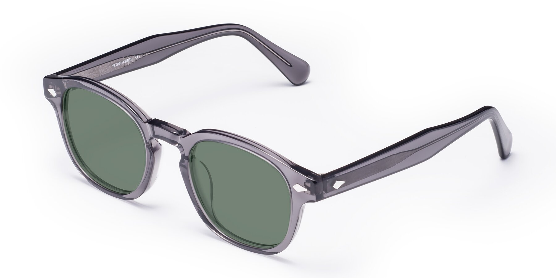 Angle of WALL-E in Translucent Gray with Medium Green Tinted Lenses
