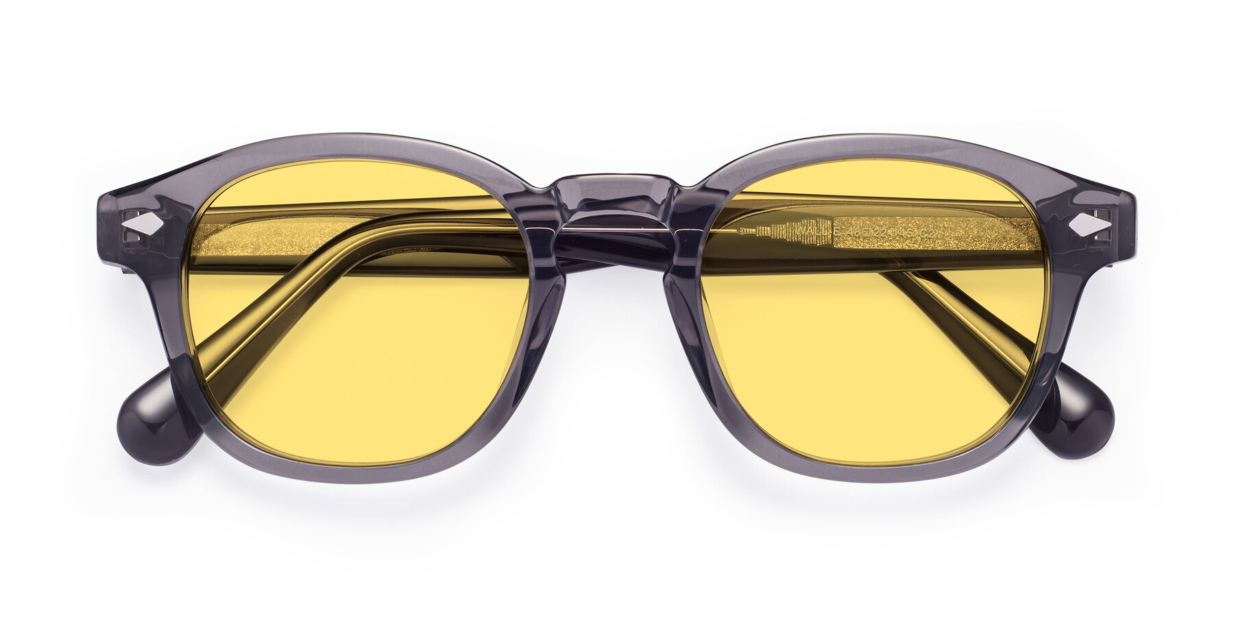 Folded Front of WALL-E in Translucent Gray with Medium Yellow Tinted Lenses