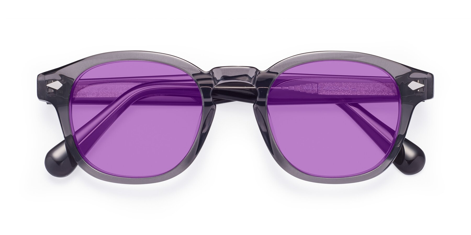 Folded Front of WALL-E in Translucent Gray with Medium Purple Tinted Lenses