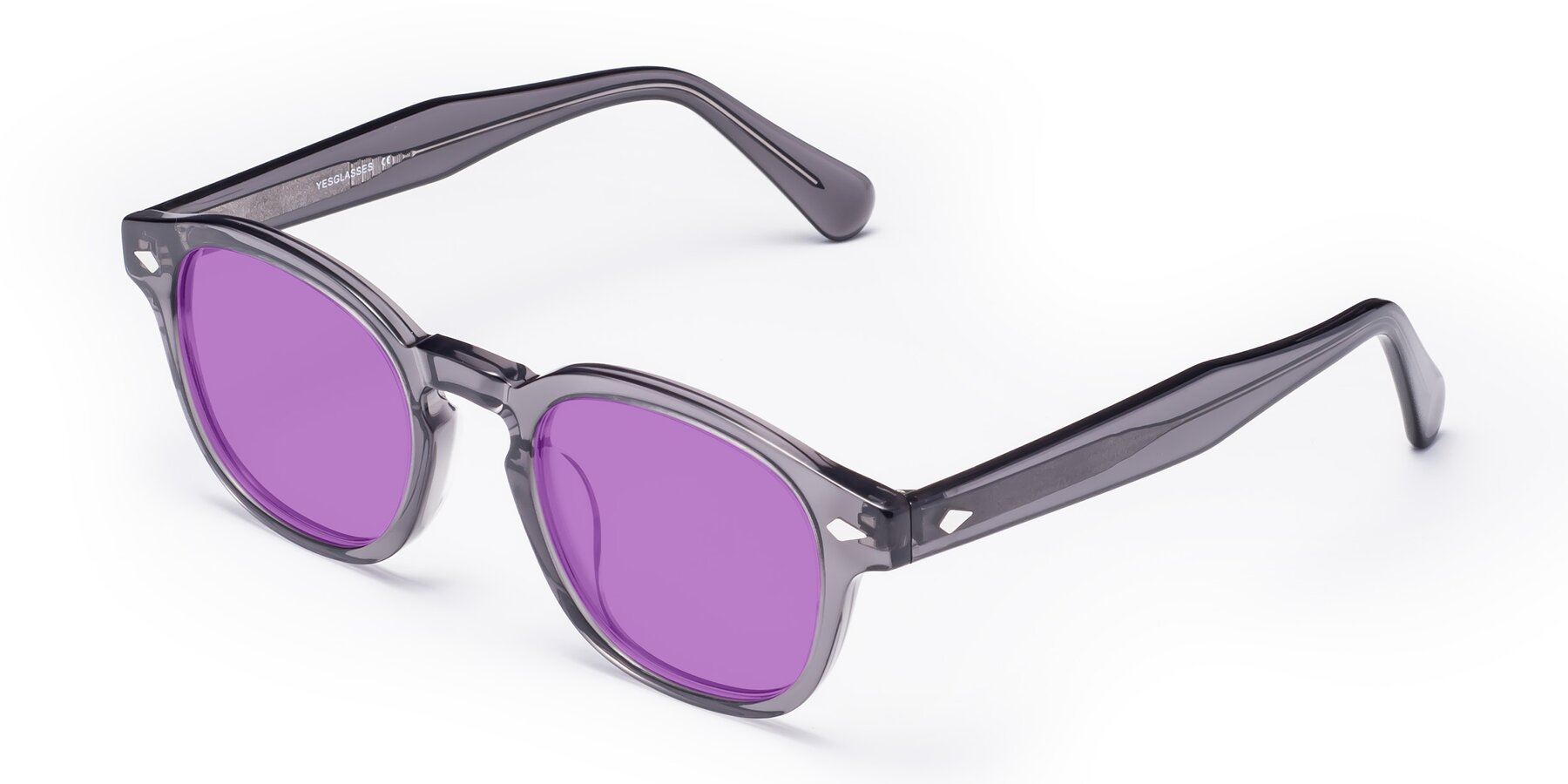 Angle of WALL-E in Translucent Gray with Medium Purple Tinted Lenses