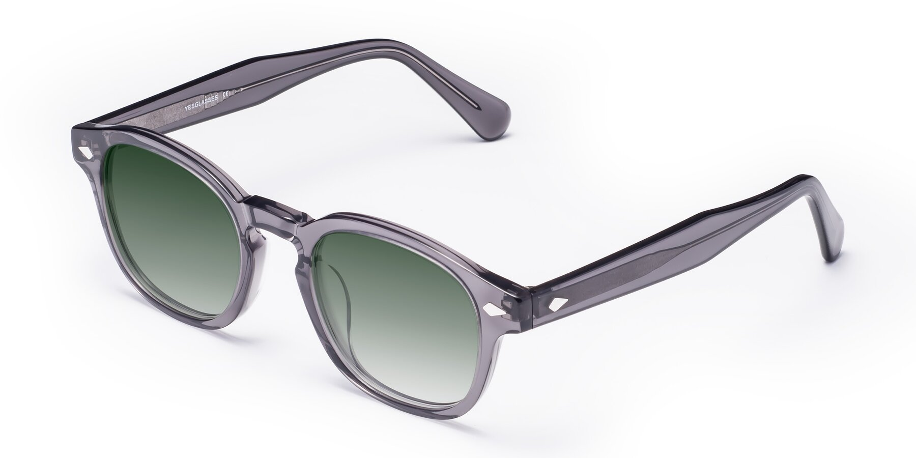 Angle of WALL-E in Translucent Gray with Green Gradient Lenses