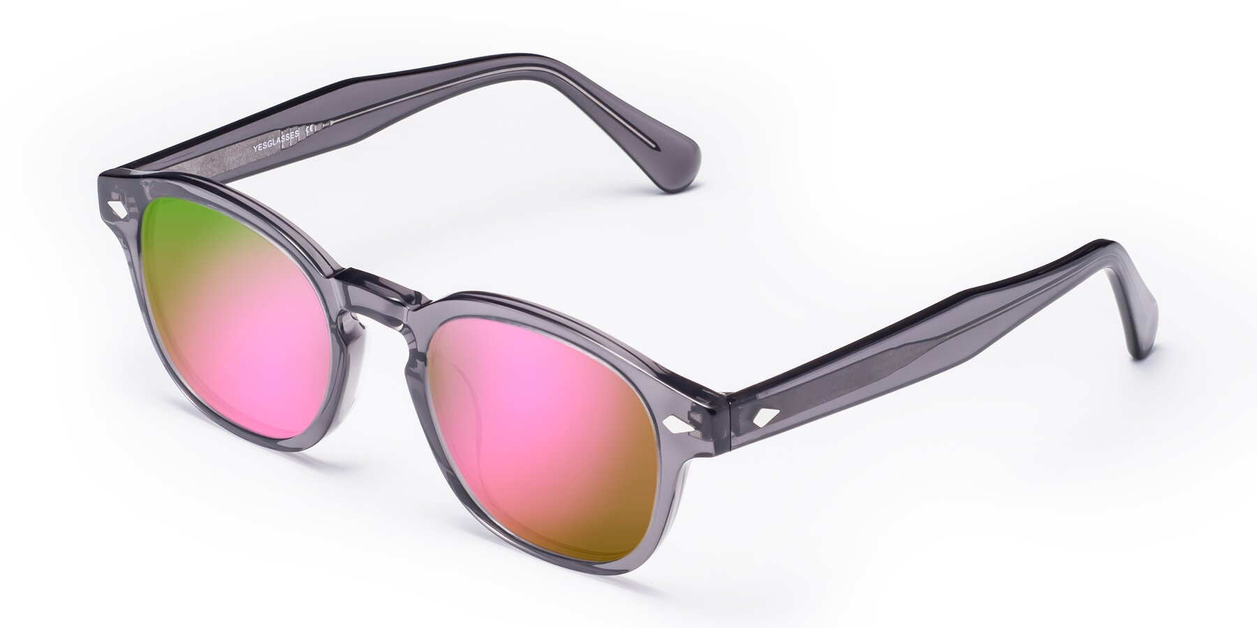 Angle of WALL-E in Translucent Gray with Pink Mirrored Lenses