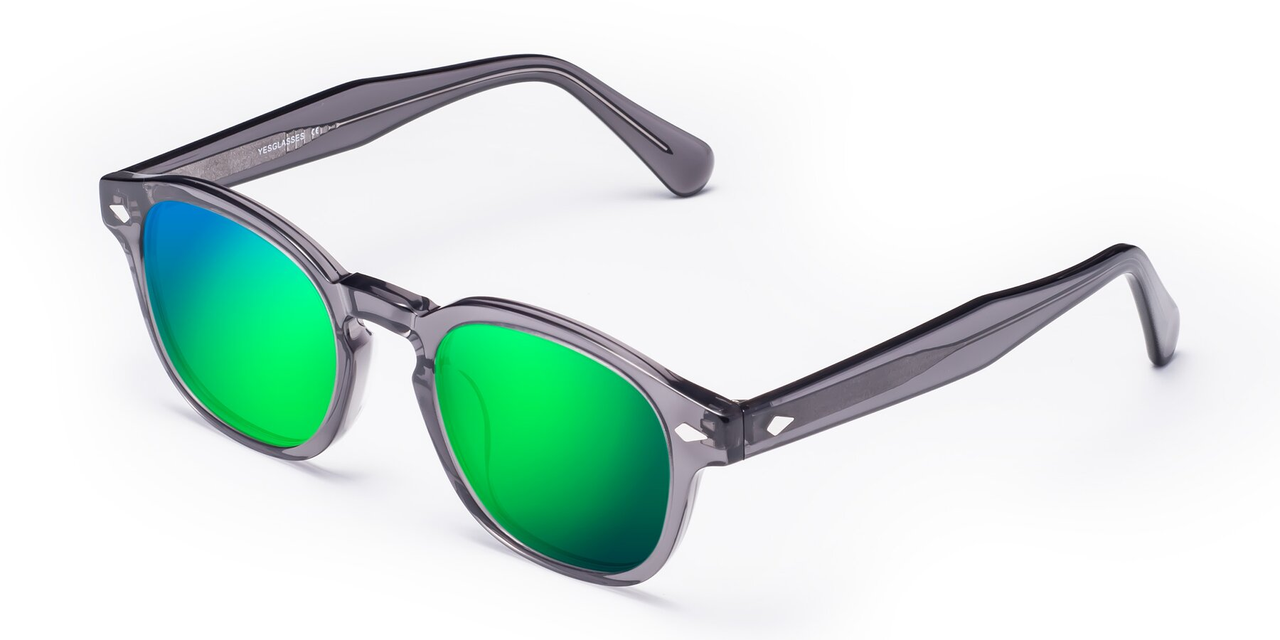 Angle of WALL-E in Translucent Gray with Green Mirrored Lenses
