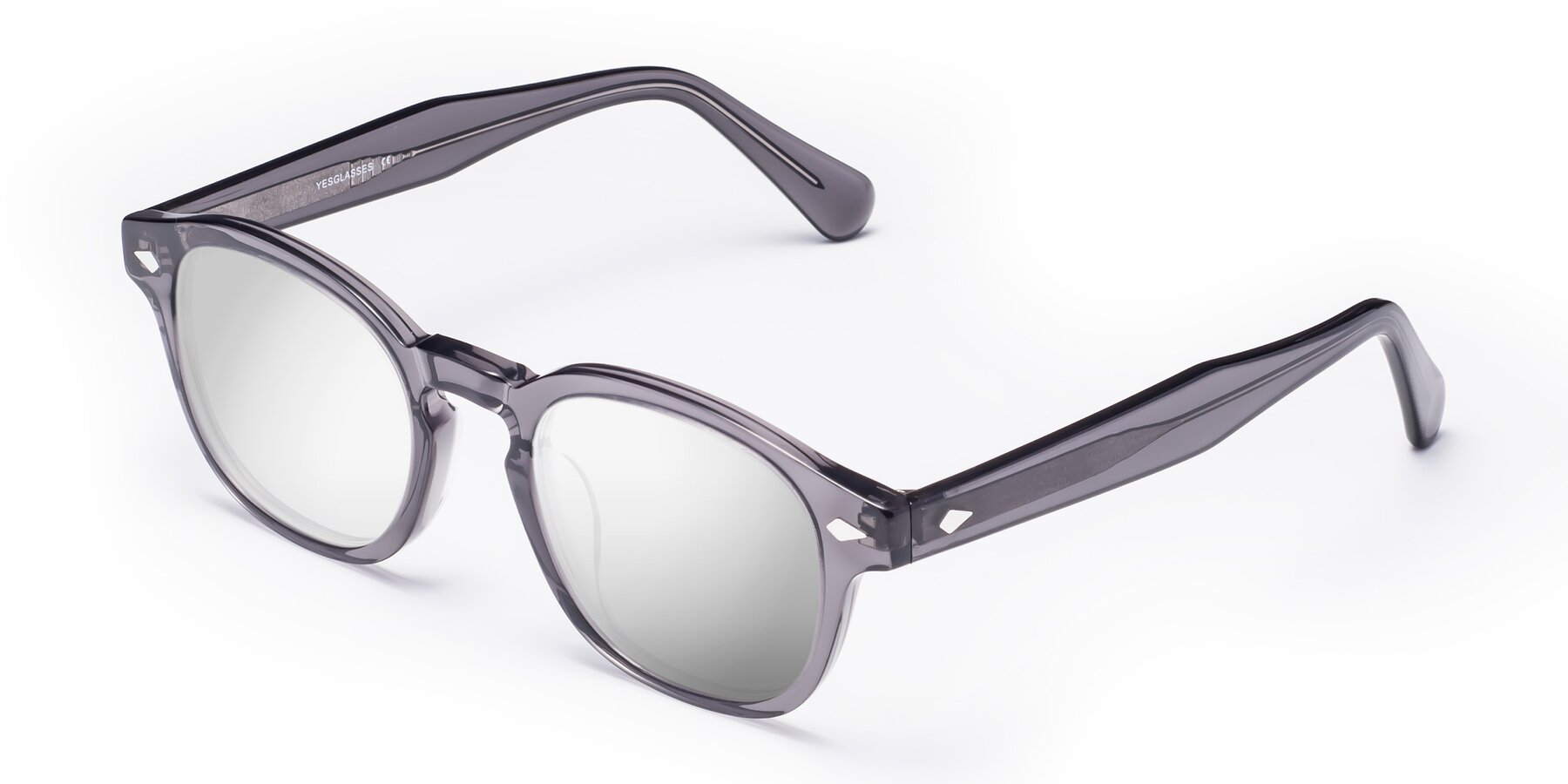 Angle of WALL-E in Translucent Gray with Silver Mirrored Lenses
