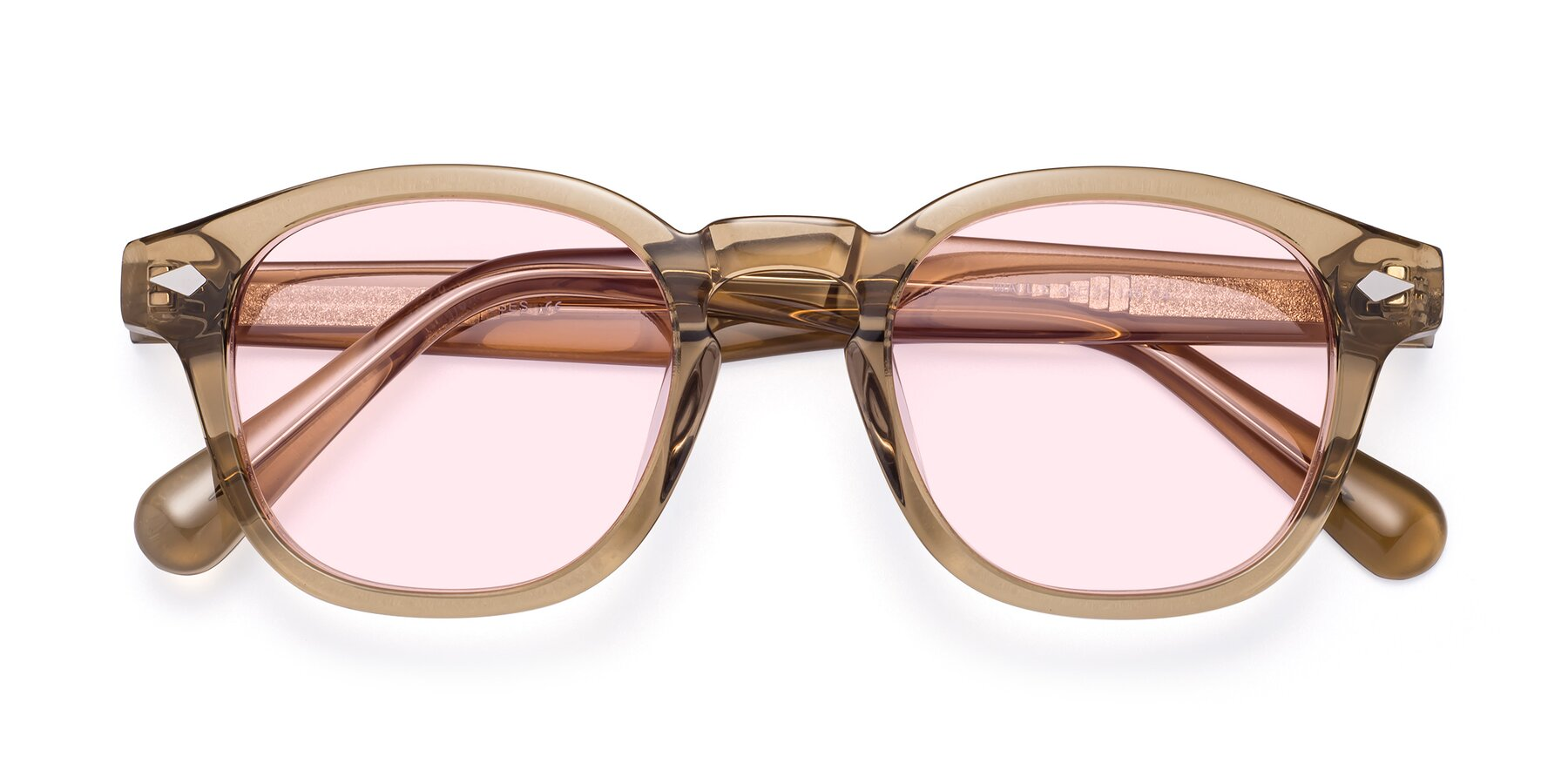Folded Front of WALL-E in Champagne with Light Pink Tinted Lenses