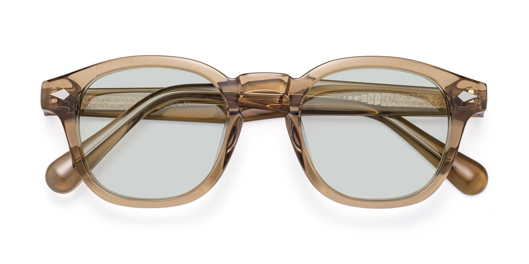 Folded Front of WALL-E in Champagne with Light Green Tinted Lenses
