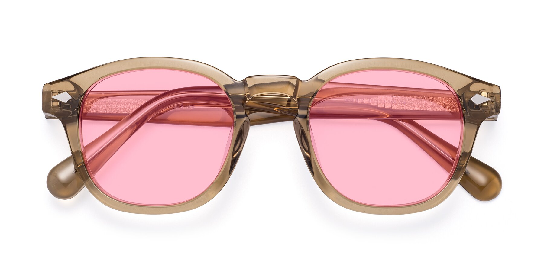 Folded Front of WALL-E in Champagne with Medium Pink Tinted Lenses