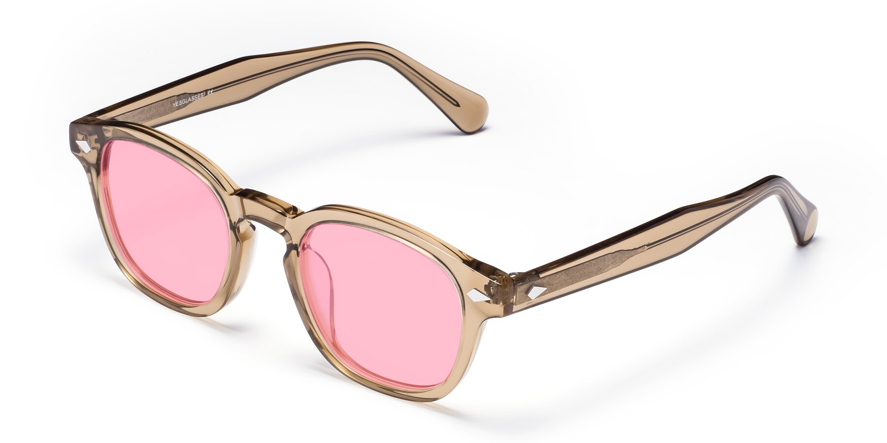Angle of WALL-E in Champagne with Medium Pink Tinted Lenses