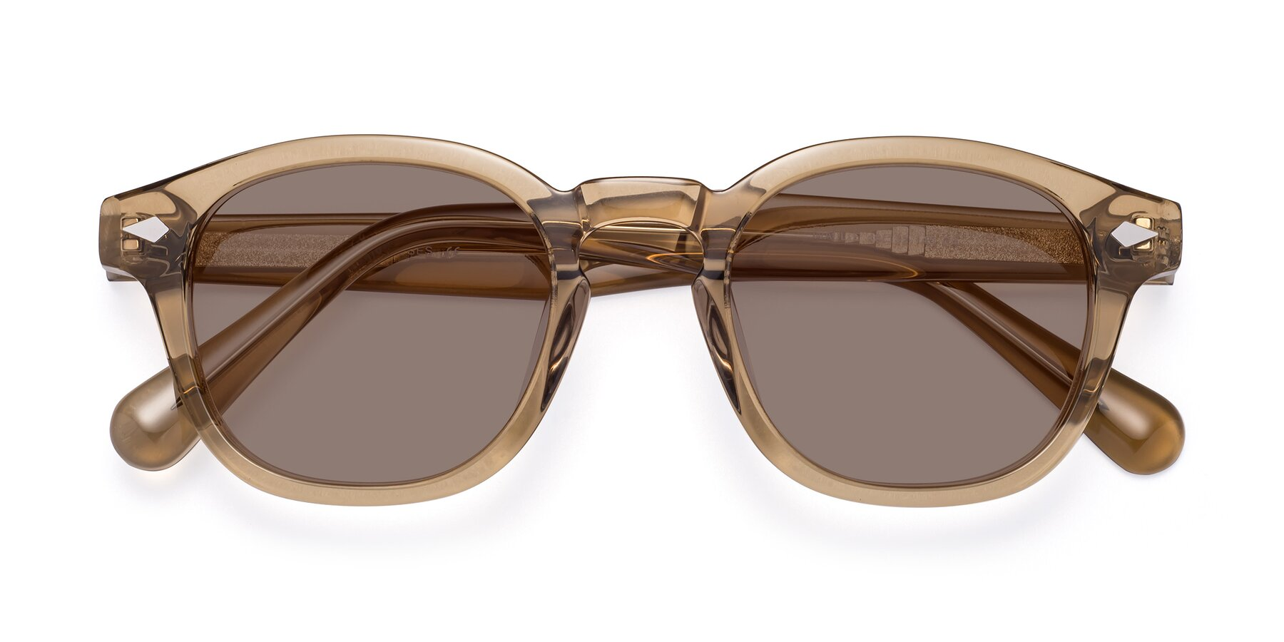 Folded Front of WALL-E in Champagne with Medium Brown Tinted Lenses