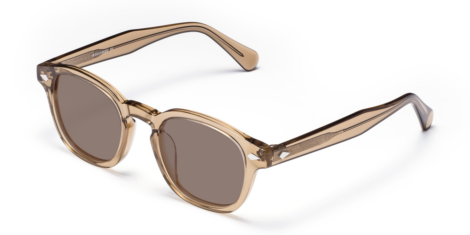 Angle of WALL-E in Champagne with Medium Brown Tinted Lenses