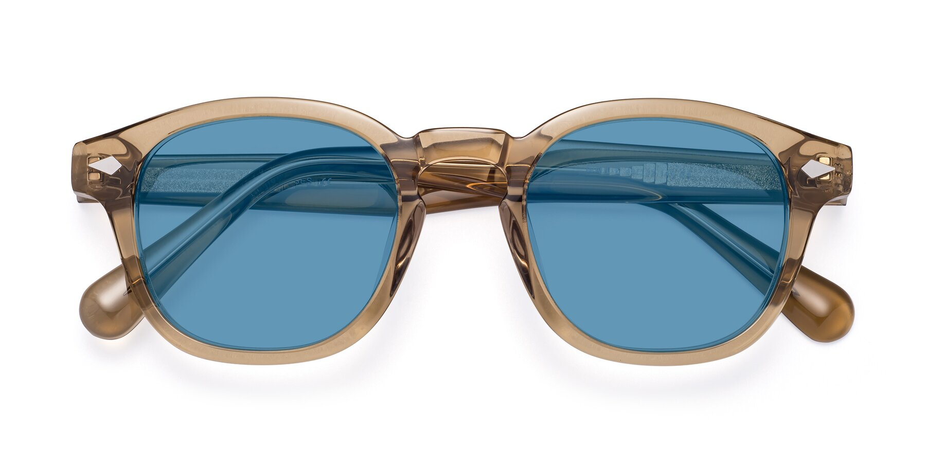 Folded Front of WALL-E in Champagne with Medium Blue Tinted Lenses