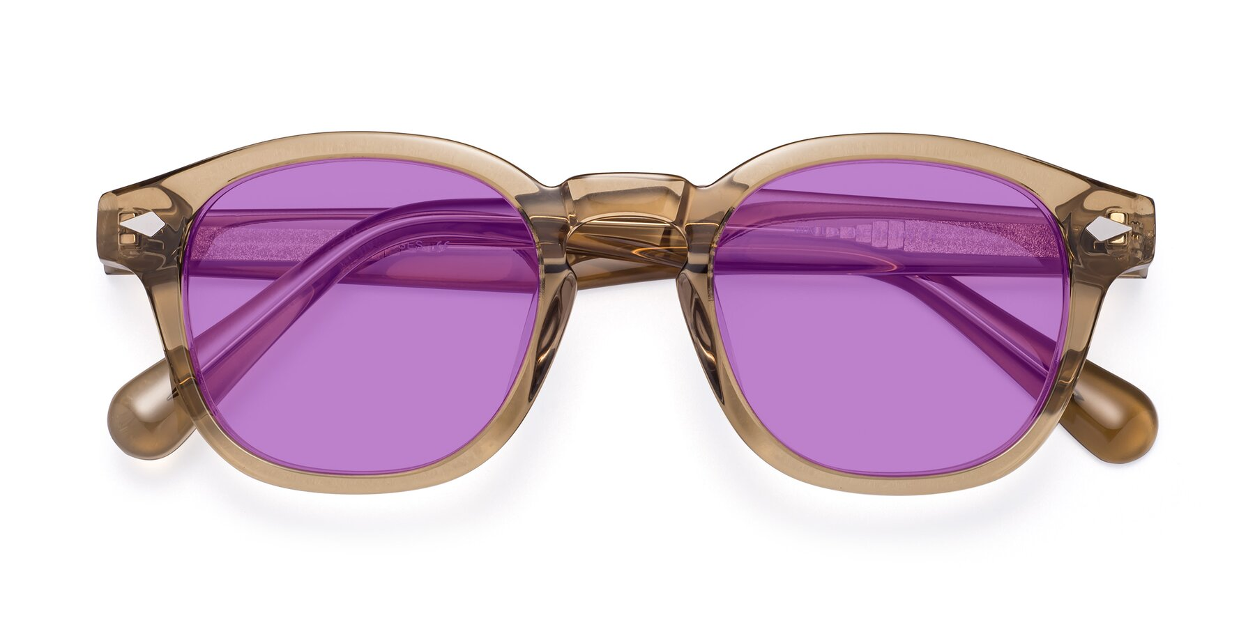 Folded Front of WALL-E in Champagne with Medium Purple Tinted Lenses