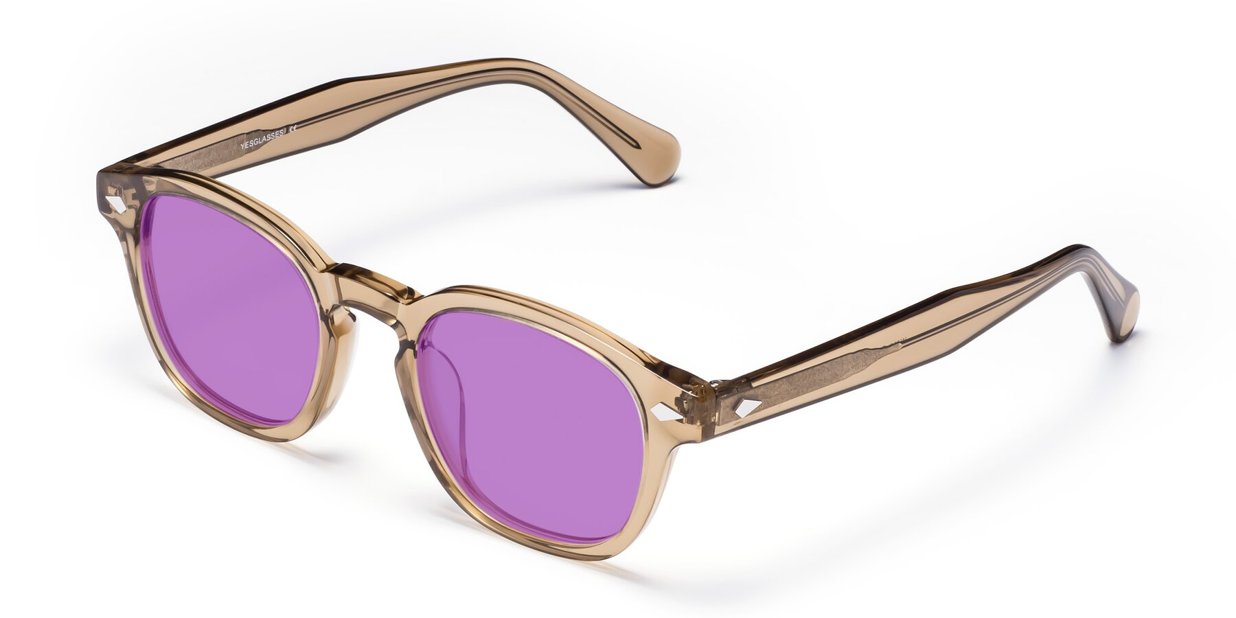 Angle of WALL-E in Champagne with Medium Purple Tinted Lenses