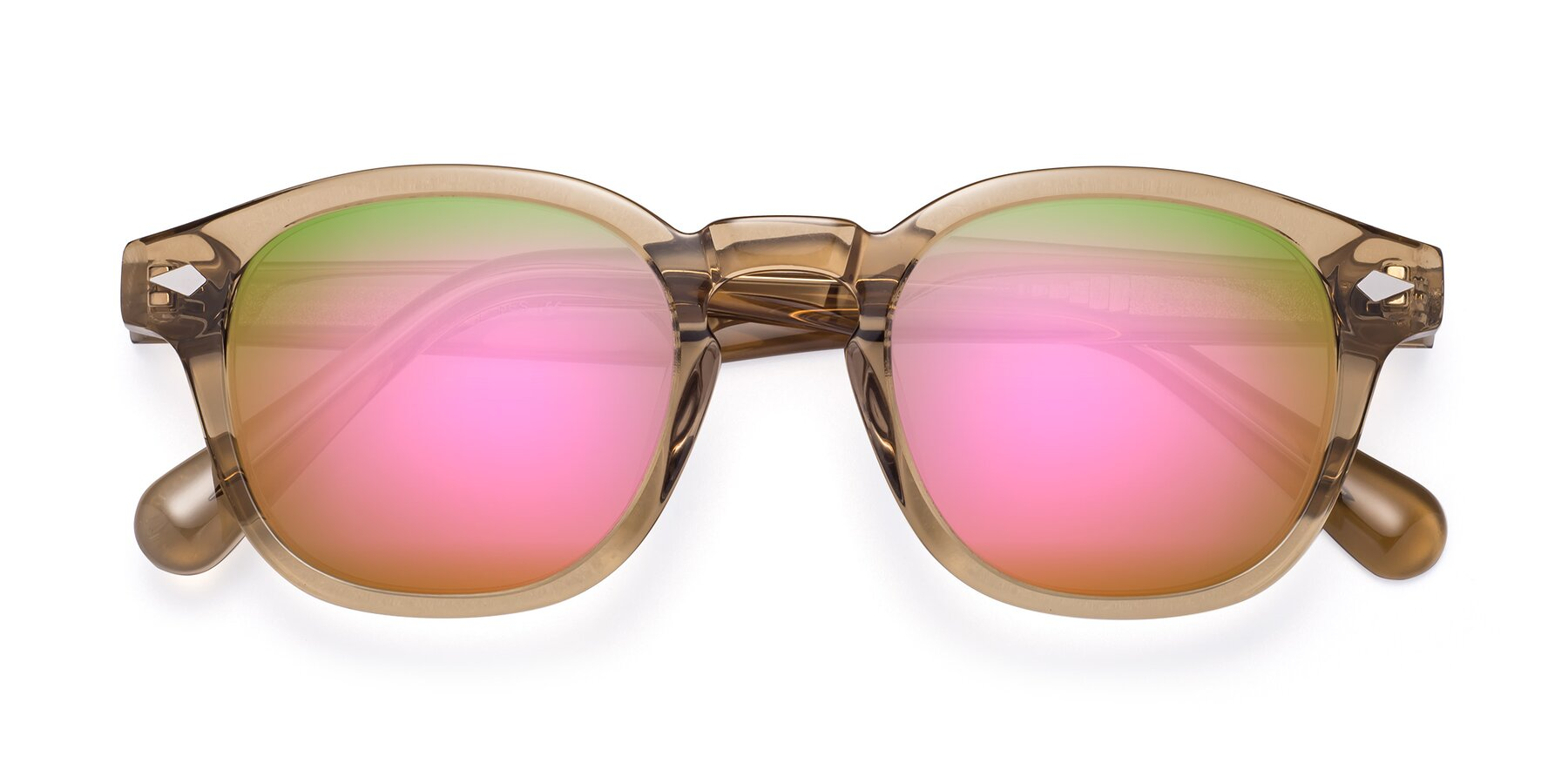Folded Front of WALL-E in Champagne with Pink Mirrored Lenses