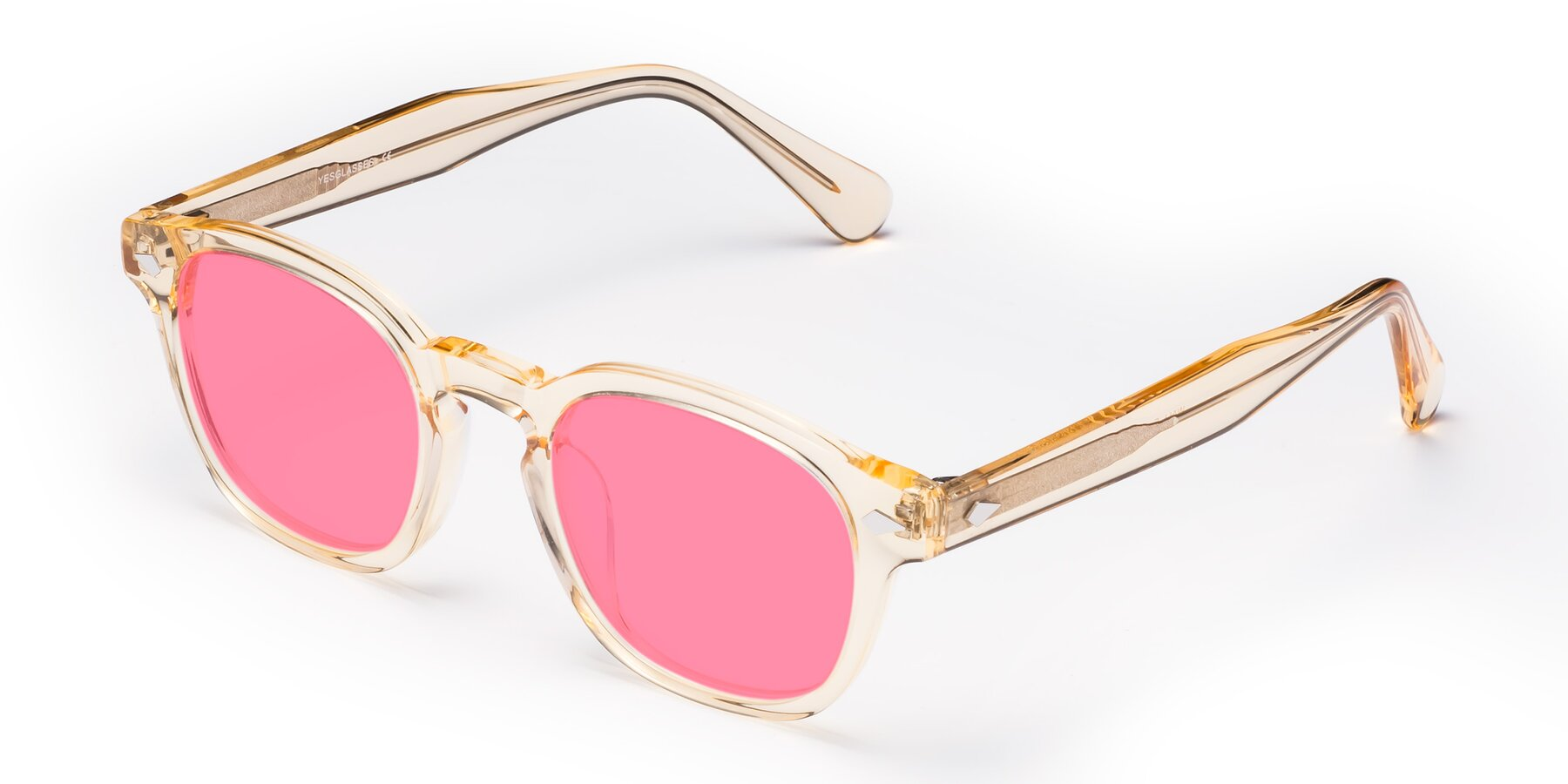 Angle of WALL-E in Translucent Brown with Pink Tinted Lenses