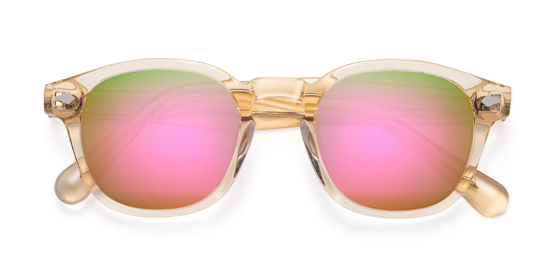 Folded Front of WALL-E in Translucent Brown with Pink Mirrored Lenses